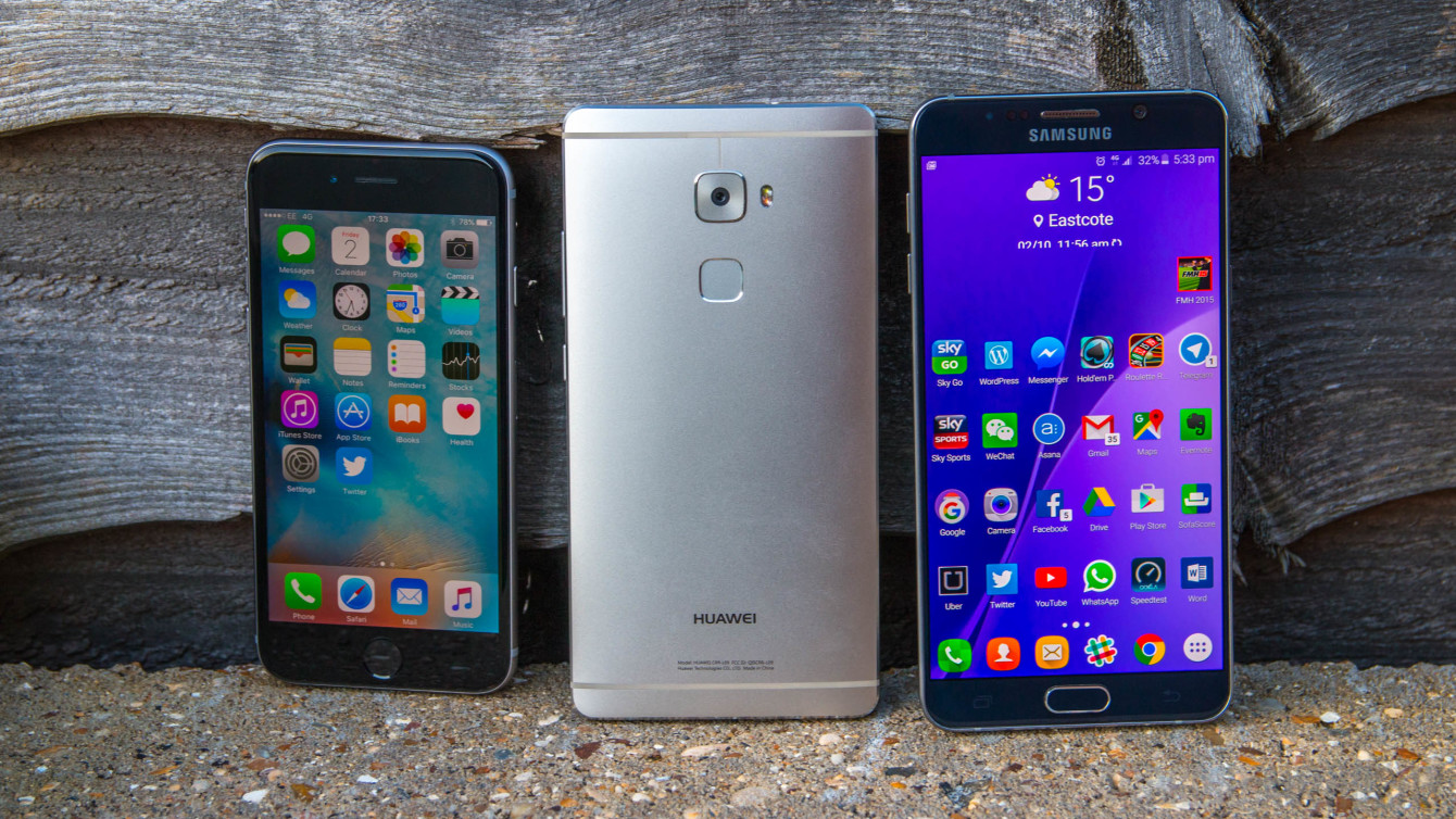 From left to right: iPhone 6S, Ascend Mate S, Galaxy Note 5. Image credit: Android Authority