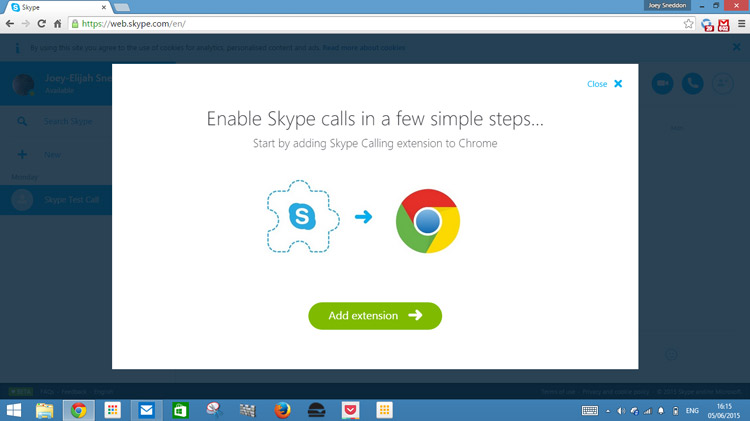 Skype for Web beta, on Google Chrome.