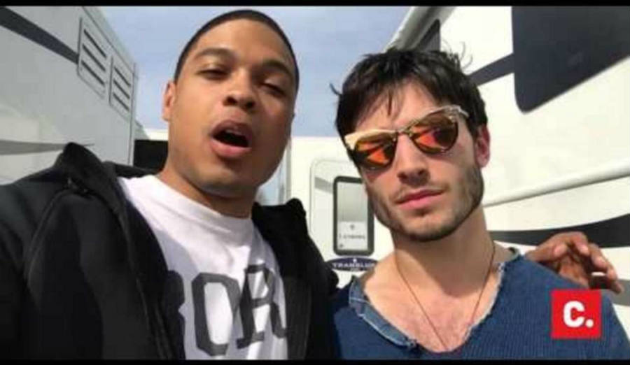 Ray Fisher (left) and Ezra MIller (right) at the Justice League movie set. Image credit: comicbook.com