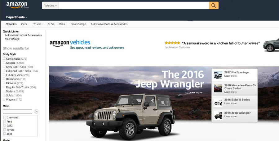 Amazon Vehicles website could be the next big thing for people looking for affordable cars online. Image Source: Slash Gear