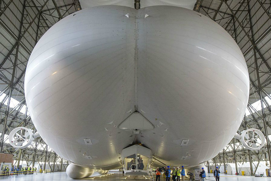 A shot of the Airlander 10 inside its hangar at Bedforshire, England. Image Source: WP
