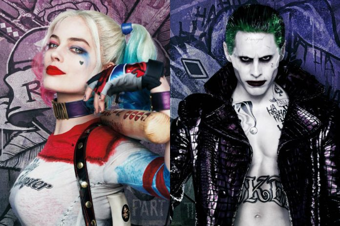 Jared Leto as the Joker and Margot Robbie as Harley Quinn for this year's Suicide Squad anti-hero movie.