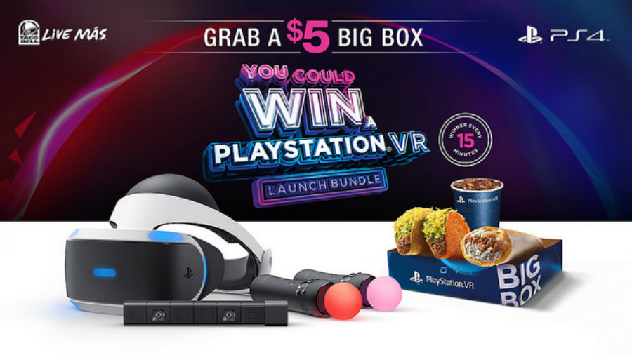 Taco Bell's official ad for its $5 Big Box contest for a PlayStation VR. Image Source: PlayStation Blog