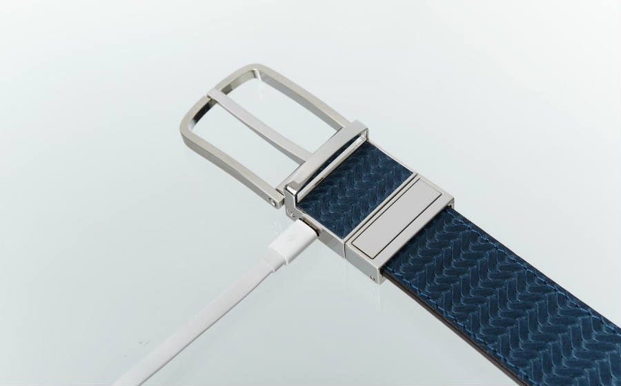 The WELT Belt has a USB port at the buckle.