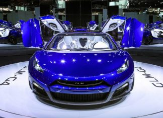 GLM unveils the G4, its first super car, at the Paris Motor Show 2016.