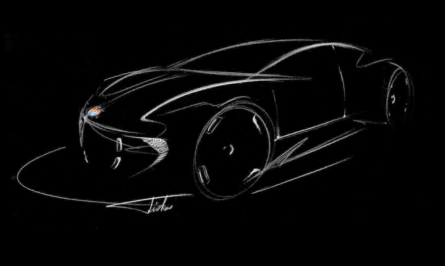 Henry Fisker presented a sketch of what will be the company's first luxury car.