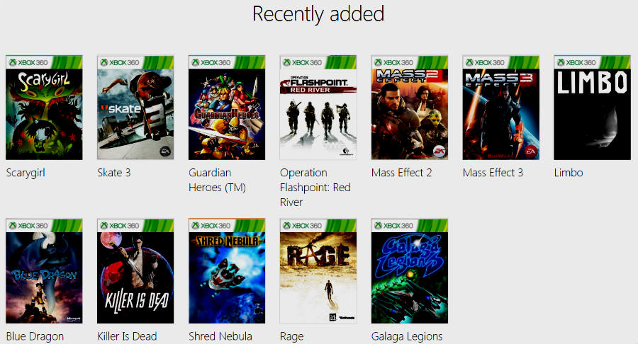 Backward compatibility recently added games