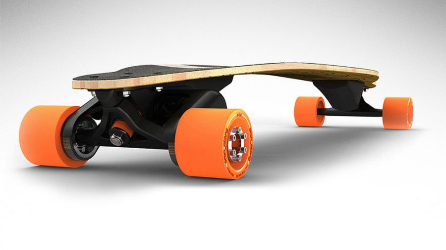 Users control the electric longboard through a remote control that connects with the Boosted Board via Bluetooth. Image Source: Change
