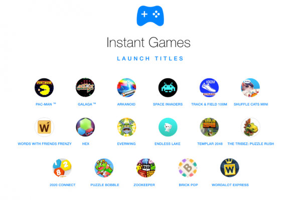 Facebook's Instant Games launching titles. Image: Facebook.