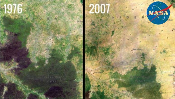 Baban Rafi Deforestation, Niger satellite image.