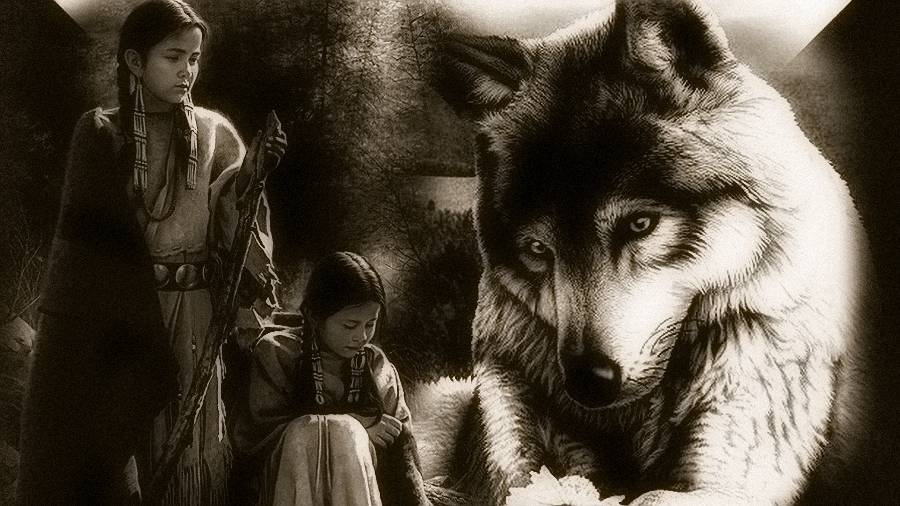 Native American women and wolves.