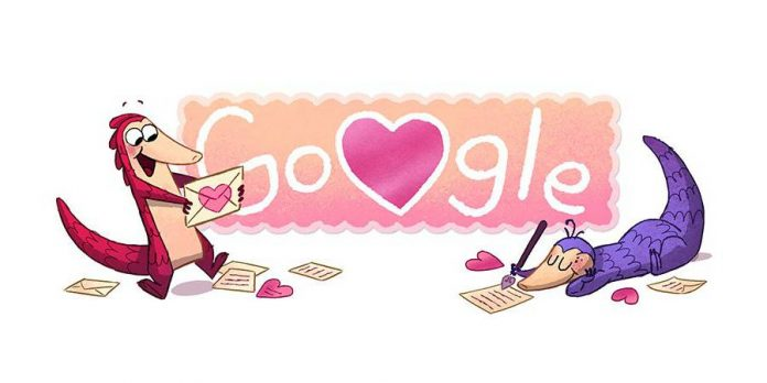 Google scales heights with Valentine's Day doodle of the pangolin