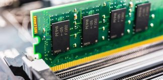 Ram Memory on the moherboard close up