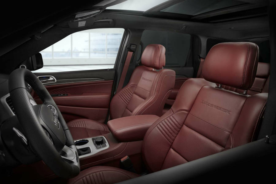 2018 Jeep Grand Cherokee Trackhawk interior - red leather