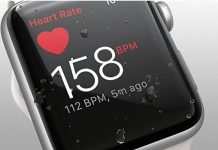 Apple Watch 2 with the heart rate app on screen.
