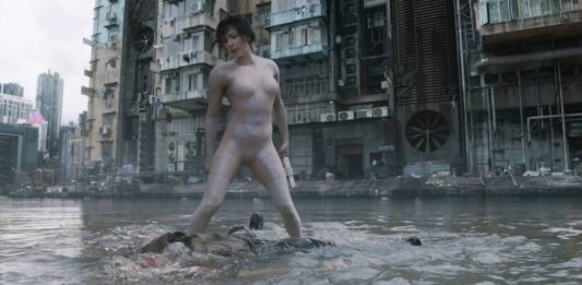 Ghost in the Shell water fight scene.