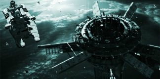 Military spaceship approaching a space outpost
