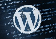 WordPress Logo on top of a sheet of code.
