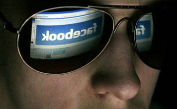 Facebook logo reflected on shades