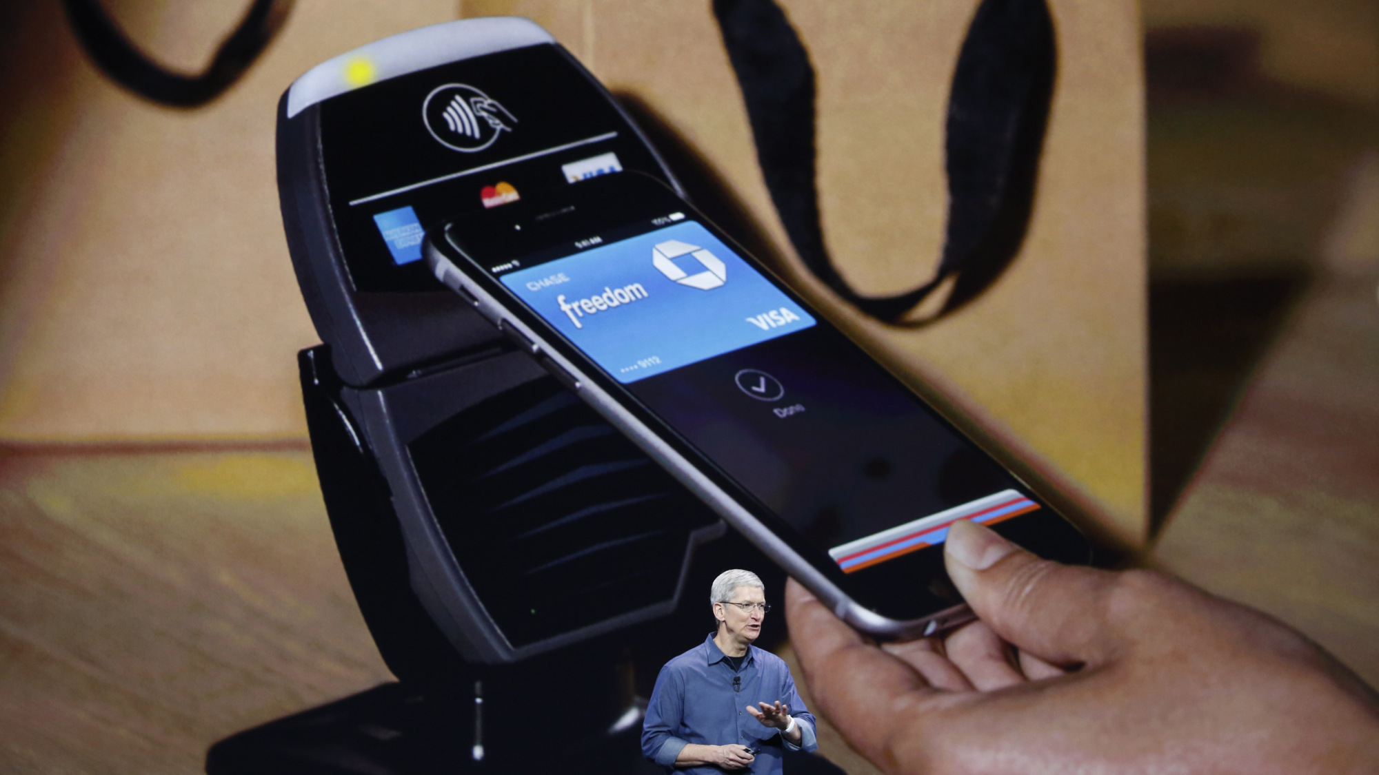 Apple CEO, Tim Cook, announces Apple Pay at WWDC 2015.
