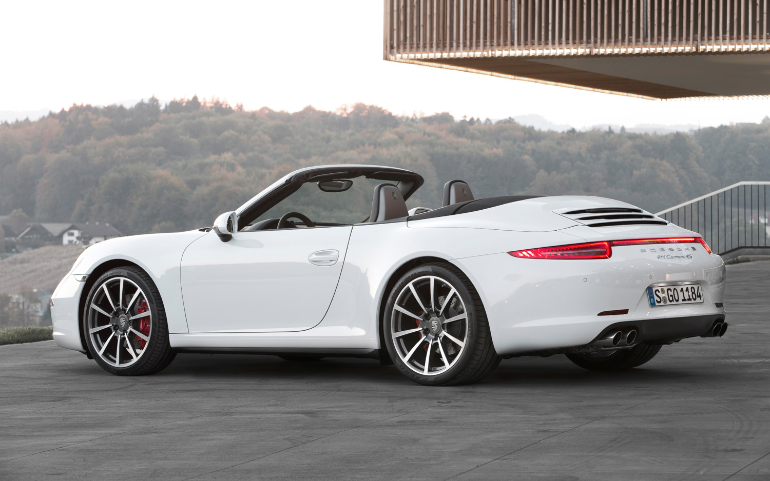 2013-Porsche-911-Carrera-4S-Cabriolet-white-rear-three-quarter
