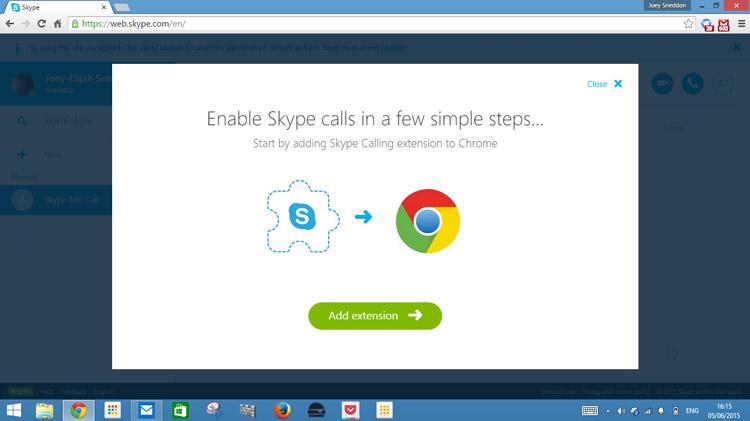 Skype for Web beta, on Google Chrome.