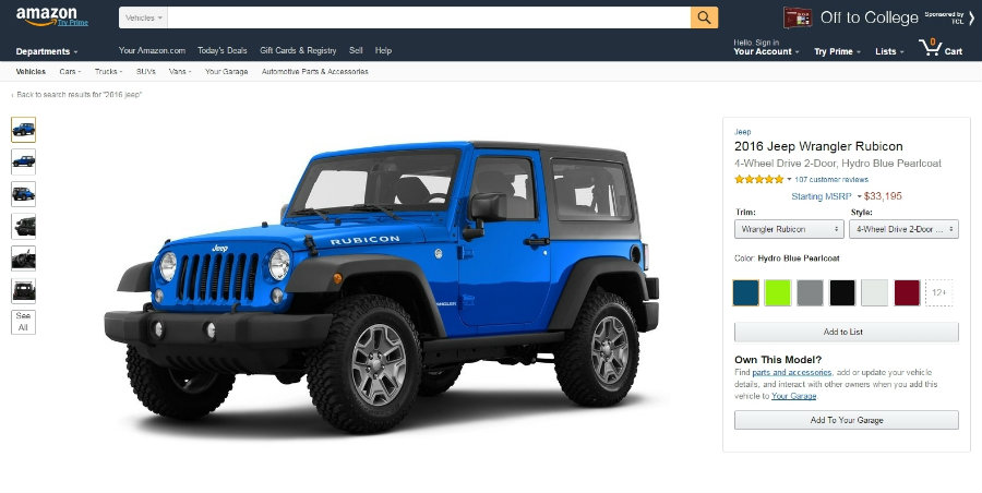 Amazon Vehicles will also point customers toward the Amazon Automotive store. Image Source: Engadget