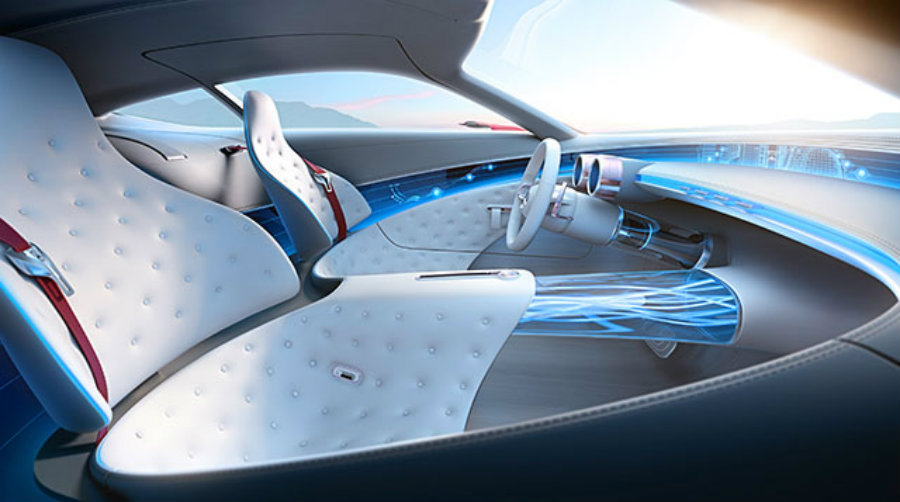 The Vision Mercedes Maybach 6's interior is beyond futuristic with a smart front panel and a high-end technology design. Image Source: Engadget