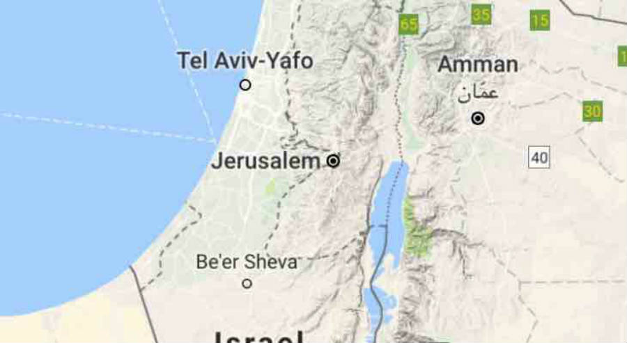 Google shows Palestine as an unlabeled demarcated area