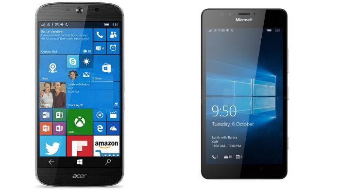 High-end Windows phones Lumia 950 vs. Liquid Jade Primo
