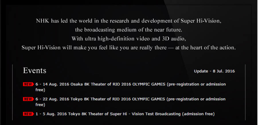 Japan NHK will broadcast the Oylimpic Games in Brazil in 8k