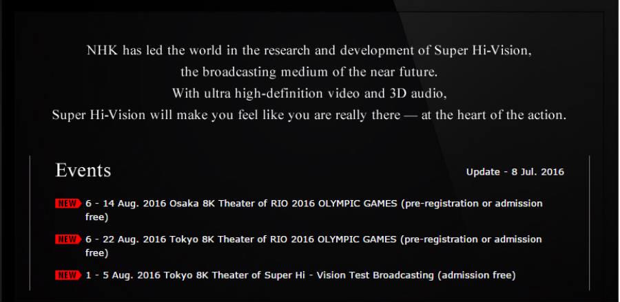 Japan -NHK will broadcast the Olympic Games in Brazil in 8K