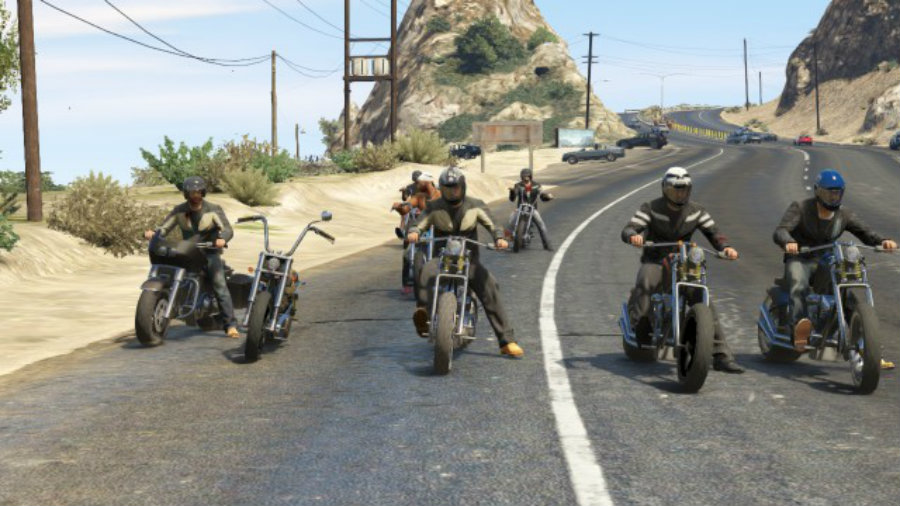 Bikers united for the DLC of Grand Theft Auto Online. Image Source: Geek & SunDry