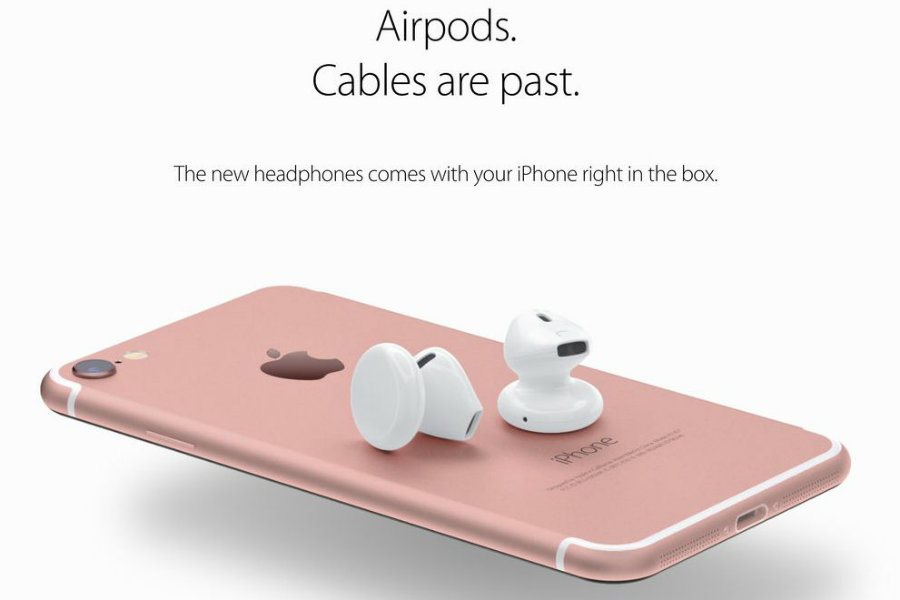An image render of what the new iPhone 7 could bring with its release, the AirPods. Image Source: Concept Phones