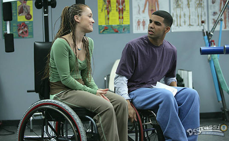 Drake acted as a disabled kid named Jimmy at Degrassi.