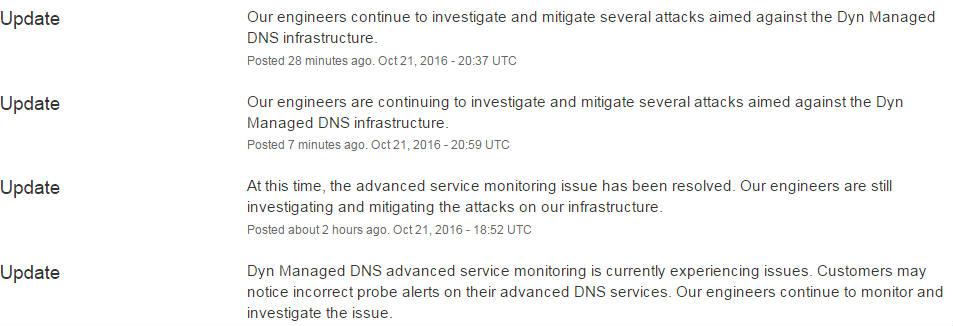 Dyn status page latest updates 21,10 UTC.