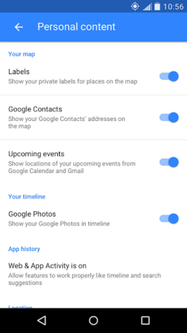 Google maps settings
