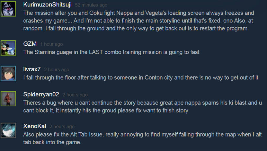 Players have reported several bugs on Dragon Ball Xenoverse 2. Image credit: Steam / TheUSBPort.