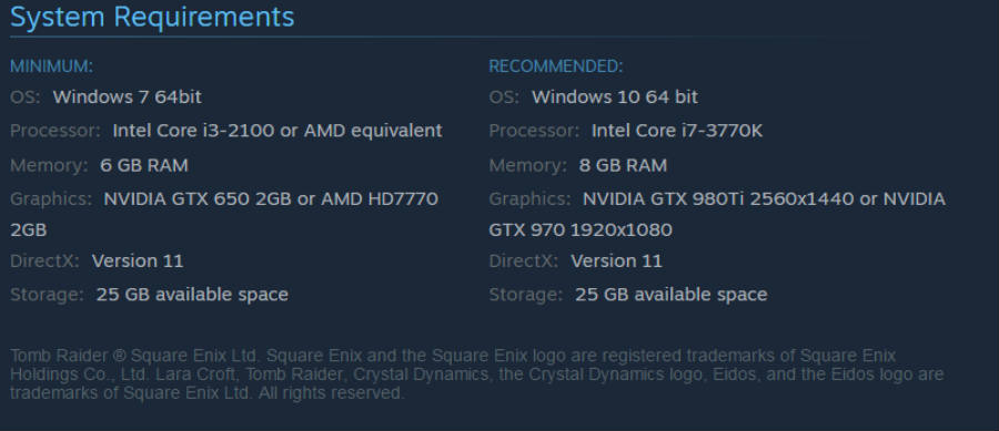 Tomb raider, rise of the Tomb Raider system requirements.