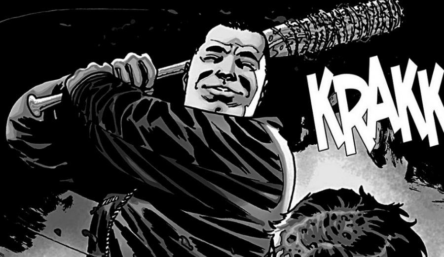A piece from The Walking Dead's graphic novel featuring Negan and his introduction to Rick's Crew. Image Source: IBT