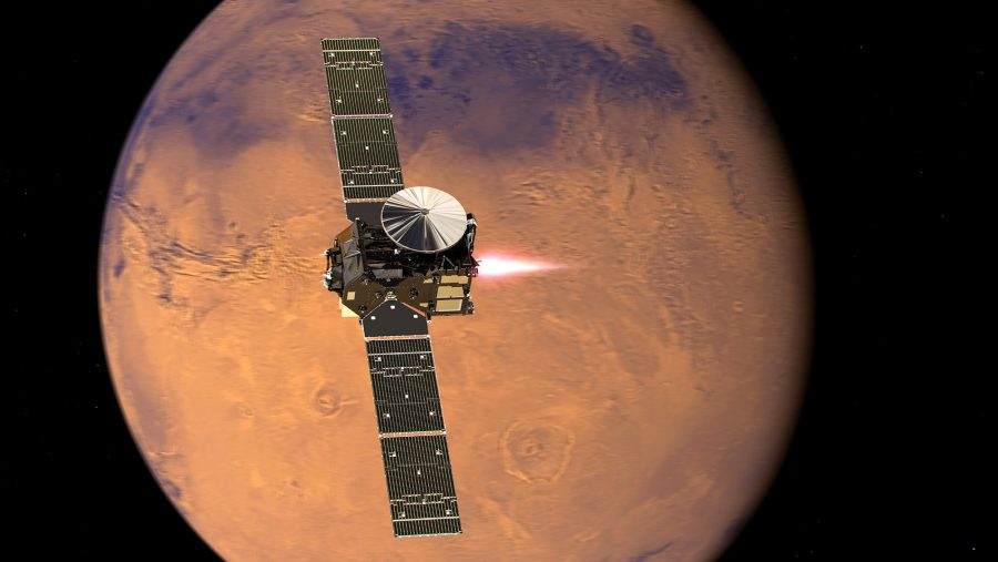 ExoMars TGO approaching Mars' surface, to take a closer look into the Red Planet's atmosphere. Image Source: NASA