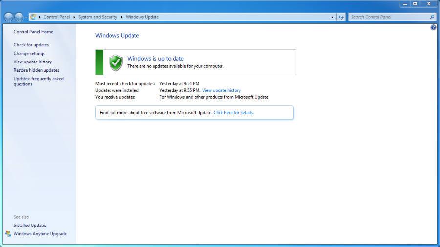 Keep Windows up to date tab.