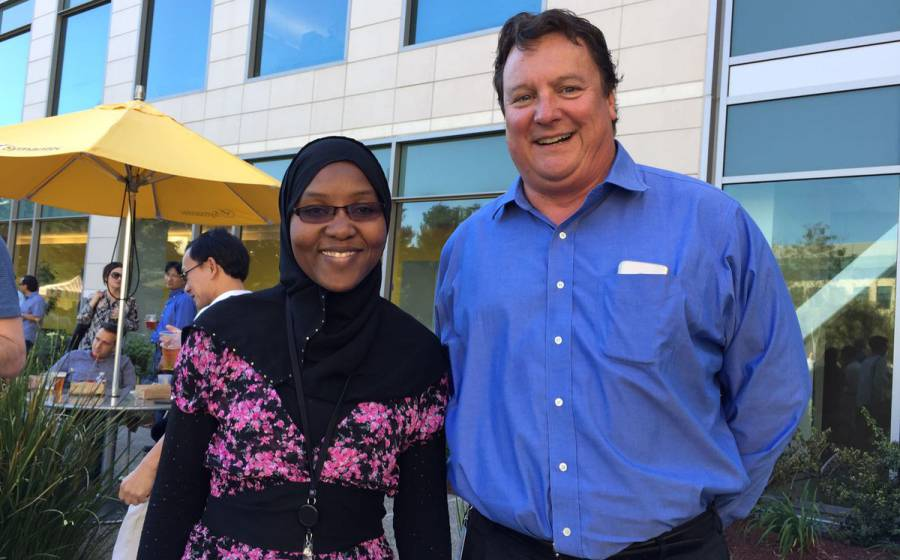 Nadia Habsatou and Symantec's CEO, Greg Clark. Image: Twitter.