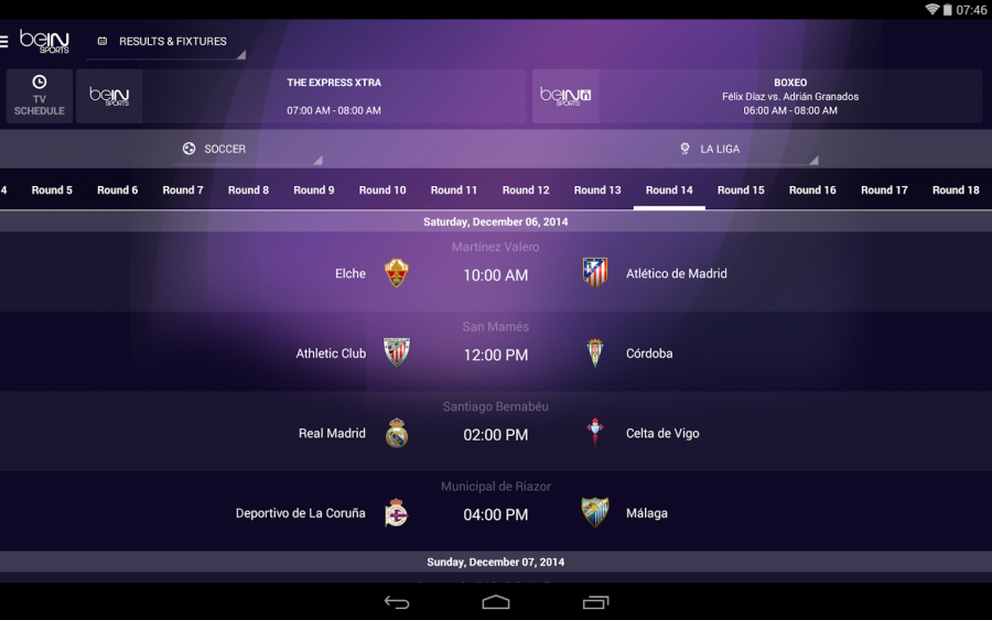 A glimpse of what beIN Sports main portal looks like, showing the time an place of each soccer game. Image Source: Google Play