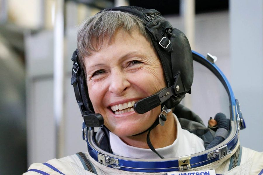 Peggy Whitson during a test before her journey to the International Space Station. Image Source: NBC News