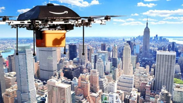 Amazon Prime Drone flying over a city.
