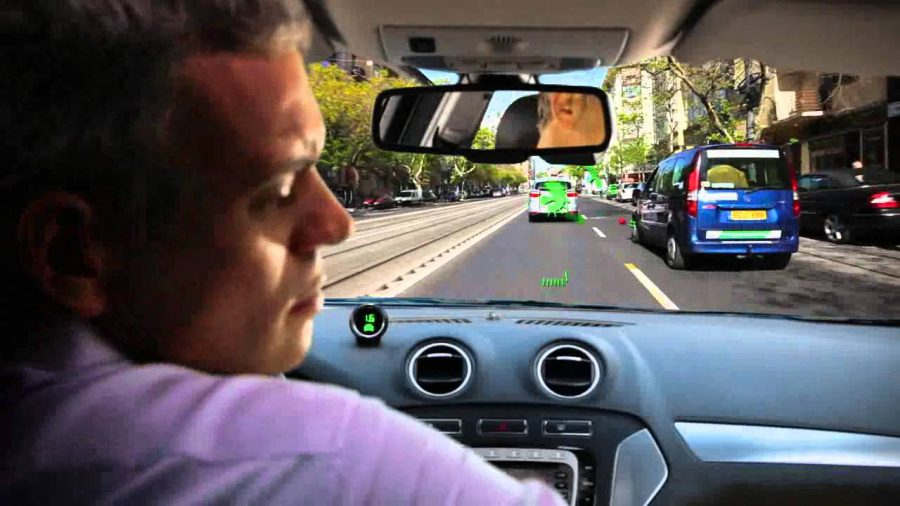 Mobileye's car detection activates while driver looks away from the road. Image Source: YouTube