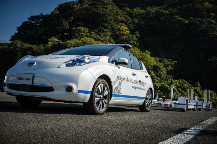 Nissan uses self driving towing cars at Oppama Plant.