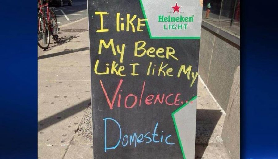 Bar Domestic Violence joke that sparked controversy.