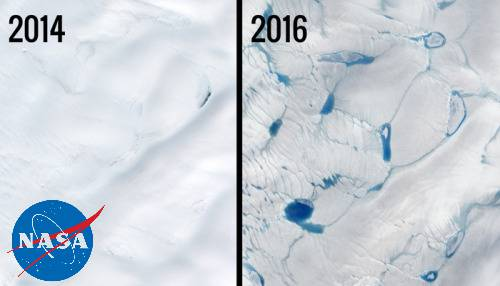 Exceptional Early Ice Melt, Greenland satellite image.